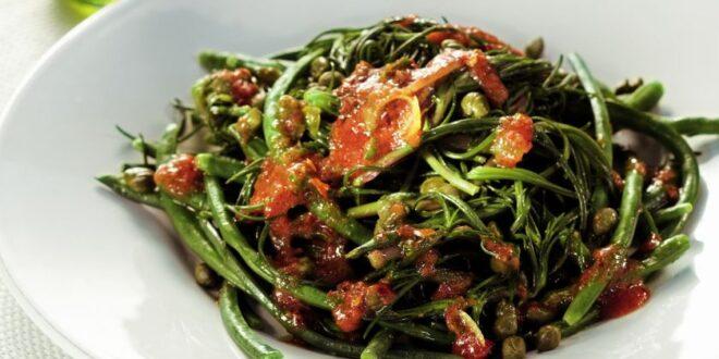 Αμπελοφάσουλα σαλάτα με λάδι και λεμόνι