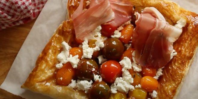 Σφολιάτα με ντοματίνια, κατσικίσιο τυρί και προσούτο