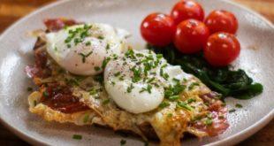 Αυγά ποσέ με σπανάκια, ντοματίνια και προσούτο